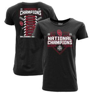 Oklahoma Sooners Blue 84 Women's 2021 NCAA Softball Women's College World Series Champions Schedule T-Shirt - Heathered Black