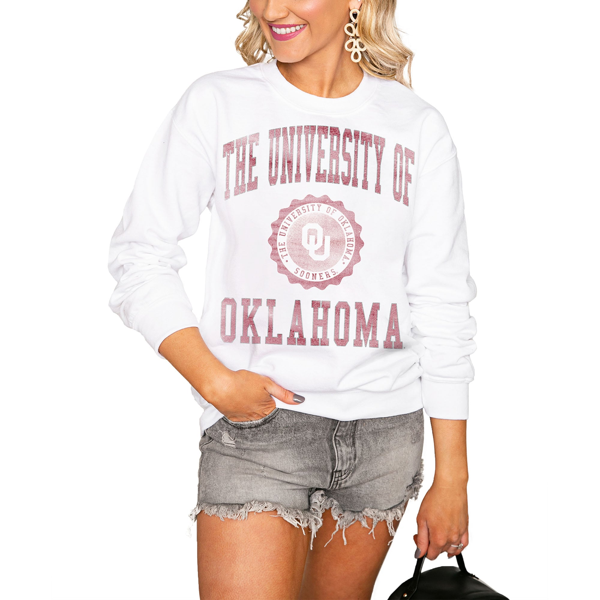 Oklahoma Sooners Women's Seal of Approval Perfect Pullover Sweatshirt - White