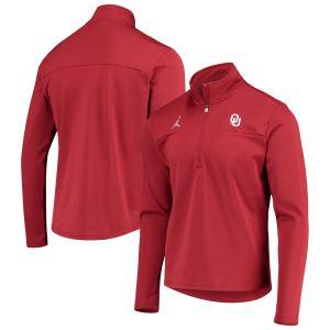 Oklahoma Sooners Jordan Brand 2021 Coaches Top Performance Half-Zip Jacket - Crimson
