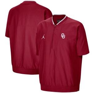 Men's Jordan Brand Crimson Oklahoma Sooners 2021 Coaches Short Sleeve Quarter-Zip Jacket