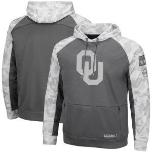 Men's Colosseum Gray/Arctic Camo Oklahoma Sooners OHT Military Appreciation Tonal Raglan Pullover Hoodie