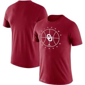 Men's Jordan Brand Crimson Oklahoma Sooners Basketball Icon Legend Performance T-Shirt