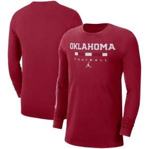 Men's Jordan Brand Crimson Oklahoma Sooners Word Long Sleeve T-Shirt