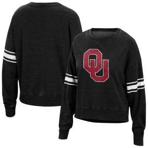 Women's Top of the World Black Oklahoma Sooners Camden Sleeve Stripe Washed Pullover Sweatshirt