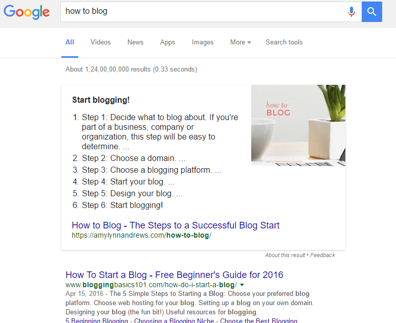 Google Search showing Featured snippets in search