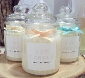 Soy candles with wooden wick by Malee by Nature; image copyright Malee by Nature