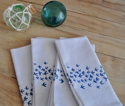 Bird-patterned napkins by Salvage Ink; image copyright Shannon Smith, Salvage Ink