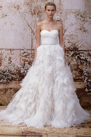 Monique Lhuillier Bridal Fall 2014 // Photo credit: WWD.com