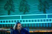 Sooriya Kumar with large bent steel artwork