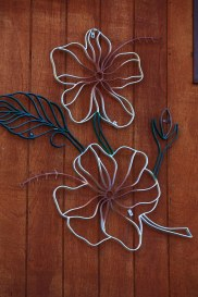 Large Bent Steel Hibiscus Wall Art (detail)