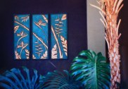 Three panel Bamboo Copper Art