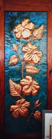 Copper Hibiscus Flower Door