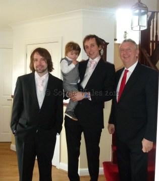 Best man, grandson, groom, grooms dad