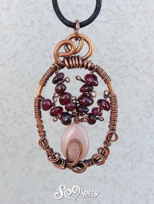 collana rame anticato wire vaso di fiore rodonite e granato antique copper wire necklace flower vase1