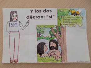 """""""And the two said: 'yes'."""" A fun spin on Adam and Eve's story before they ate the forbidden fruit. (I only drew Sofi and colored the other stuff.)"""
