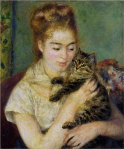 Woman with Cat, by Pierre-Auguste Renoir