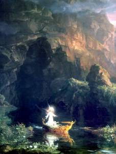 The first of the Voyage of Life paintings by my fellow Imbolc-born Aquarian  Thomas Cole (1801–1848)
