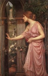 Psyche Entering Cupid's Garden (1905, John William Waterhouse)