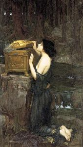 Pandora, 1896, by John William Waterhouse. To read the story of Pandora and what was really in Pandora's Box, see the link at the end of this blog post!