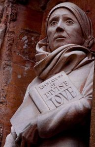 Julian of Norwich, statue at Norwich Cathedral, England. Public domain image courtesy of WikiMedia.