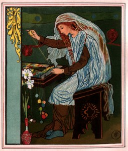 The Lady of Shalott Weaving, 1881, by Howard Pyle for Alfred, Lord Tennyson's The Lady of Shalott. Illustrated by Howard Pyle. New York: Dodd Mead & Co.