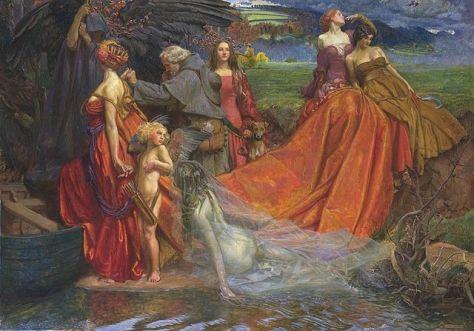 Now is the Pilgrim Year Fair Autumn's Charge, by John Byam Liston Shaw (1872-1919). Public domain image courtesy Wikimedia.