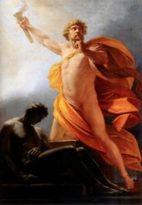 Prometheus Brings Fire, 1817, by Heinrich Friedrich Füger. Public domain image courtesy of Wikimedia.