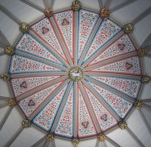 Chapter House Ceiling with Cornerstone. Michael Wilson, York, U.K. Image: CaptMondo CC via Wikimedia.