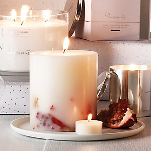 White company pomegranate candle