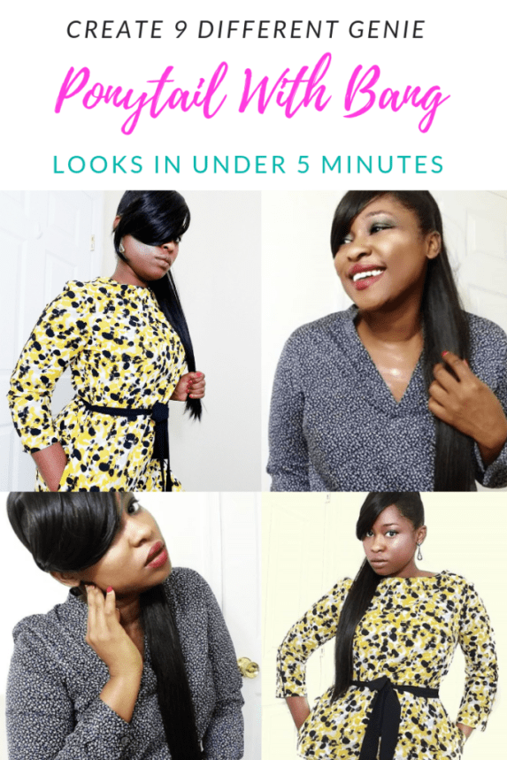 Create 9 Different Genie Ponytail With Bang Look In Under 5 Minutes Learn How to do a high genie ponytail with bangs in under 5 minutes. These 9 styles are easy high ponytail hairstyles for black women.