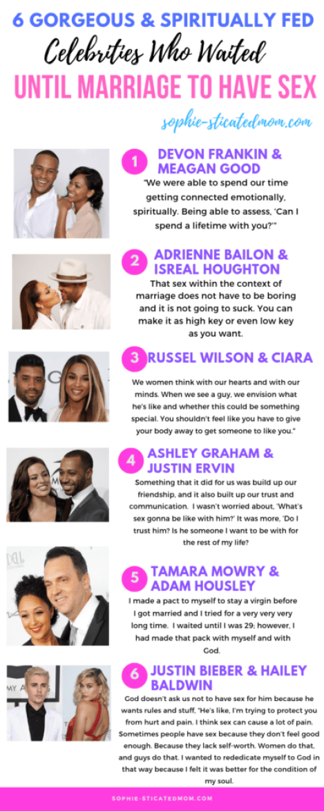 Celebrity couples who waited until marriage to have sex. The art of practicing spiritual celibacy. Tips from celebrities couples on how to remain abstinent until marriage.