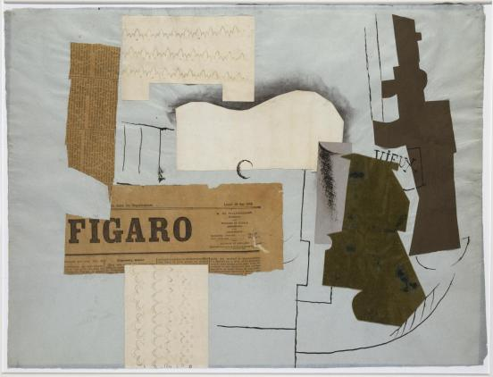 """Piccasso's """"Bottle of Vieux Marc, Glass, Guitar and Newspaper"""""""