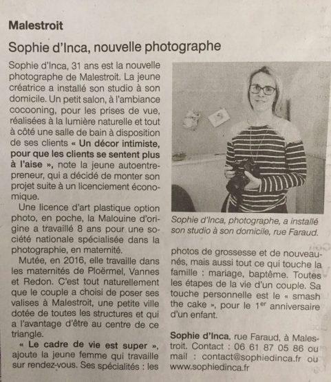 article de presse sophie d'inca photographe Malestroit 56