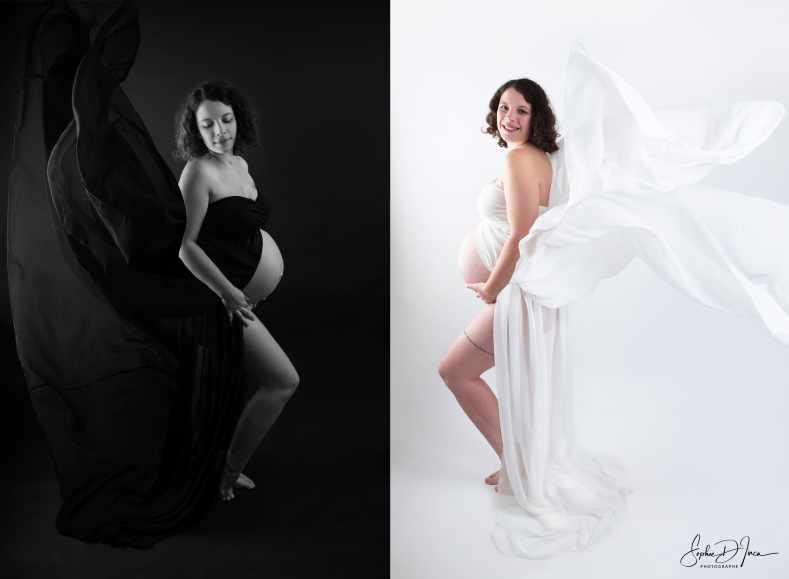 séance grossesse black&white studio-Sophie D'inca Photographe-Malestroit-Morbihan