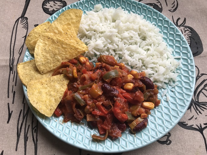 Chili sin carne, glutenvrij, vegan en super lekker!