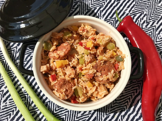 Jambalaya met kip, ham en chorizo