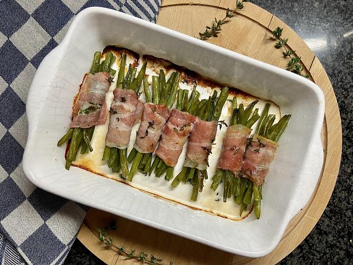 Haricots verts met spek uit de oven