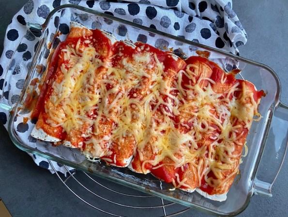 Enchiladas met paprika, kidneybonen en gehakt