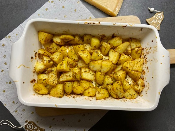 aardappeltjes met Parmezaanse kaas en knoflook