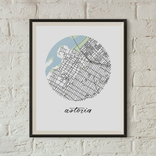 Astoria, Queens Map Print framed on a white brick wall