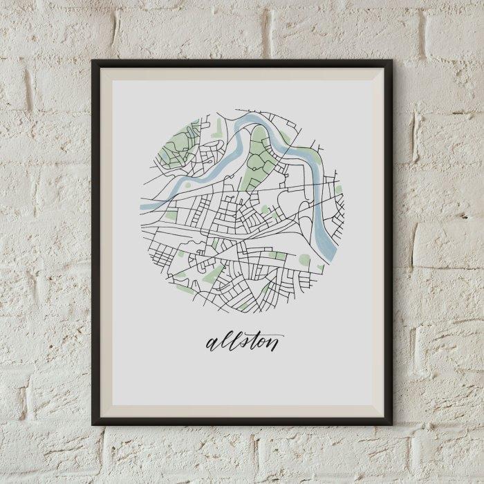Allston, Boston Map Print framed on a white brick wall