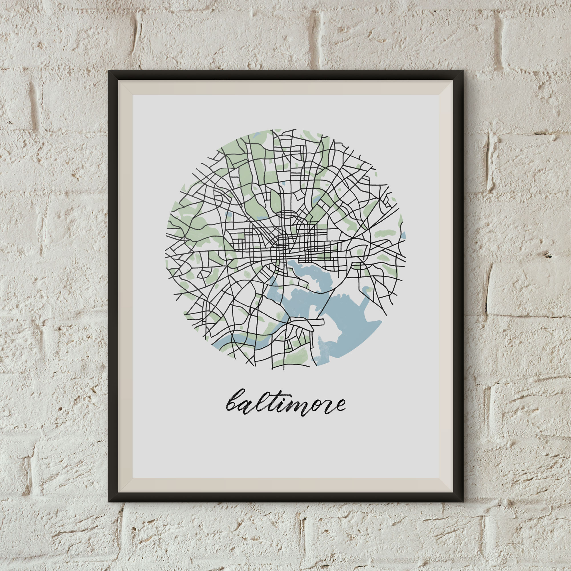 Baltimore Map Print framed on a white brick wall
