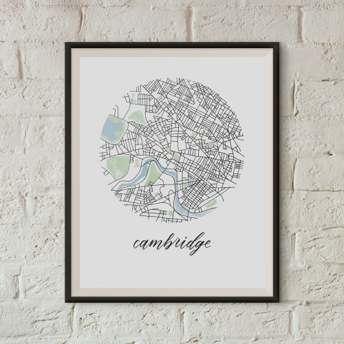 Cambridge, Boston Map Print framed on a white brick wall