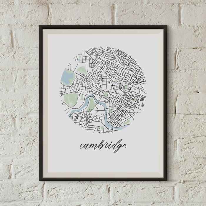 Cambridge, Boston Map Print framed on a white brick wall