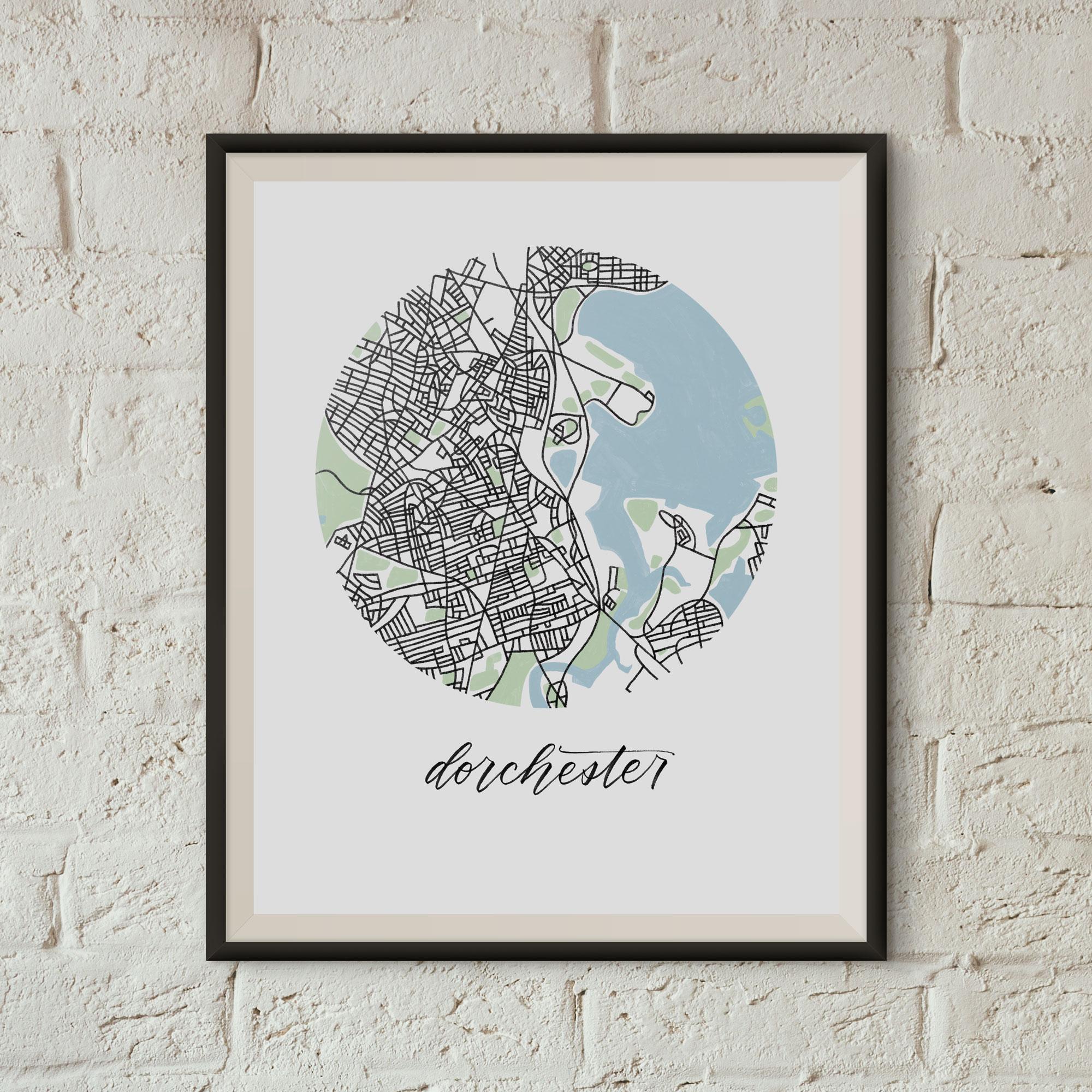 Dorchester, Boston Map Print framed on a white brick wall