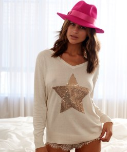 Silk cashmere sweter cream bronze star
