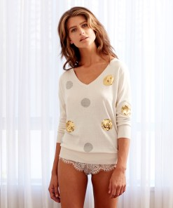 Silk Cashmere Spot Sweater