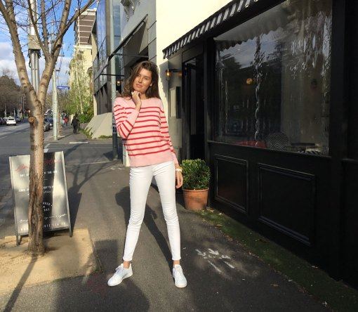 Cotton cashmere stripe sweater