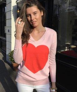 cotton cashmere heart sweater