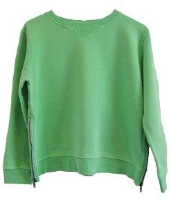 Zip Sweater green plain